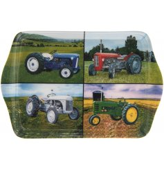 A country living style tray with 4 photographic tractor images. A great gift item for tractor enthusiasts.