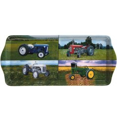 An attractive country living style tray with four different tractor images. A great gift item for enthusiasts.