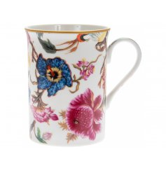 A vintage inspired floral design mug with gift box.