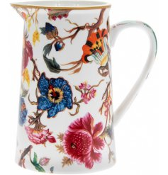 Part of a beautifully floral new range of kitchenwares, this glazed ceramic jug will be sure to add a splash of colour