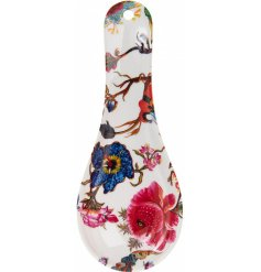 Part of a beautifully floral new range of kitchenwares, this plastic spoon rest will be sure to add a splash of colour