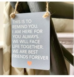 With a grey base tone and block white script text, this charming hanging decoration is part of our wide range of Mini D