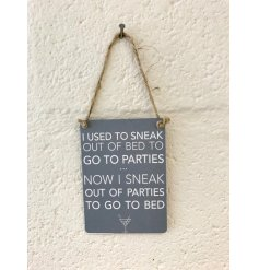 A charming little mini metal sign featuring a grey back tone and comical scripted text