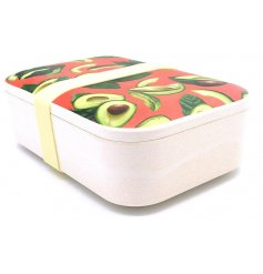 An eco friendly bamboo made lunch box with trendy avocado design.