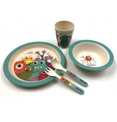 A bamboo eco friendly childrens dining set in a friendly monster design.