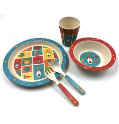 A bamboo eco friendly spaced themed children's dining set.