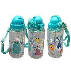 A colourful and quirky monster design water bottle. Complete with straw and carry handle.