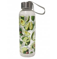 A stylish and on trend avocado design water bottle with a metallic lid.