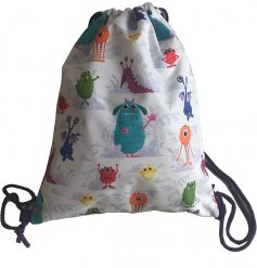 A fun monsters design drawstring bag. A great accessory for kids!