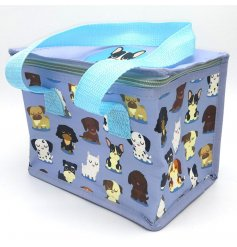 A charming dog squad design cool bag featuring a variety of dog breeds. Perfect for lunch on the go!