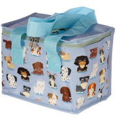 A cute and quirky dog design cool bag with blue carry handle.