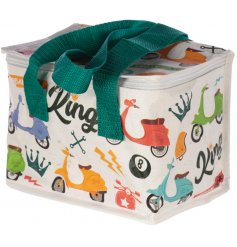 A fabric cooler lunch bag covered with a trendy 'Speed King' scooter decal