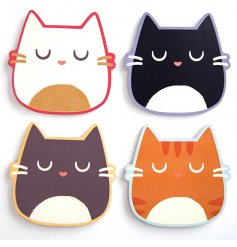 A set of 4 cat design coasters, featuring 4 different designs.