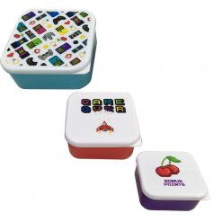 A set of 3 stacking lunch boxes, each with a retro emoji gaming motif.