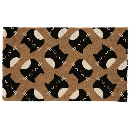 Printed Feline Fine Coir Doormat