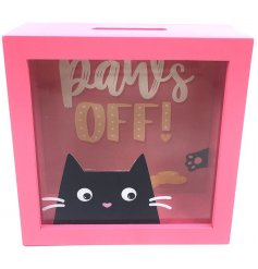 Get saving with this bright and bold cat design fund box with a Paws Off slogan!