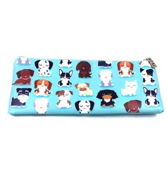 A cute and colourful dog squad pencil case depicting a variety of breeds.