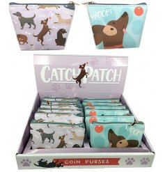A cute mix of pvc zip up coin purses, each decorated with its own 'Catch Patch' print