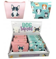 Bring a quirky touch to your handbags with this cute mix of dog printed zip up coin purses