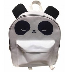 An adorable Panda design backpack with a large storage compartment and front zip pocket.