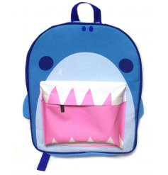 A unique shark design backpack with two storage compartments. A fantastic gift item for kids. Idea for school use