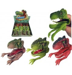 Have hours of fun with these pocket money priced dinosaur hand puppets, including an assortment of colours.