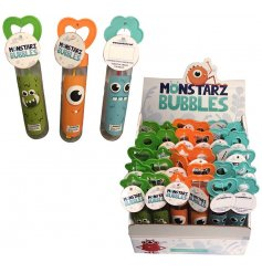 Colourful monster design bubbles. A fun pocket money priced toy with a star, heart or flower handle.