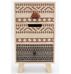 Stay organised with this wooden 3 drawer storage unit, decorated with a mix of African inspired patterns.