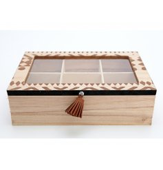 A stylish and practical wooden tea box with tassel and an African inspired print.