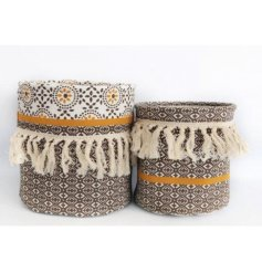 Bring a trending tone to your home interior with this Luxe set of fabric storage baskets,