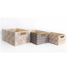 his chic set of storage baskets will be sure to bring a Modern feel to any home space