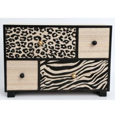 Stay organised with this on trend wooden storage unit with 4 drawers. Complete with zebra and leopard print designs.