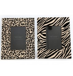 A mix of 2 animal print photo frames in zebra and leopard print designs.