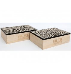 The tea. Make a great time and celebrate. A mix of 2 slogan tea boxes in zebra and leopard print designs.