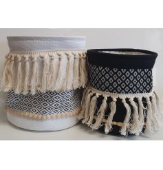 this chic set of storage baskets will be sure to bring a trending Aztec feel to any home space