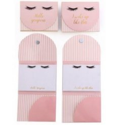 A magnetic Memopad featuring a trendy 'Hello Gorgeous' scripted text and eyelash decal