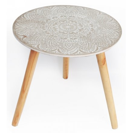 Embossed Wooden Table, 40cm