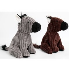 A mix of 2 grey and brown corduroy horse doorstops in grey and brown designs.