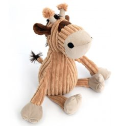 An adorable giraffe design doorstop with cute features and a corduroy finish. A charming gift item interior accessory.