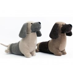 A mix of 2 grey and brown design sausage dog doorstops. A charming, rustic style home accessory.