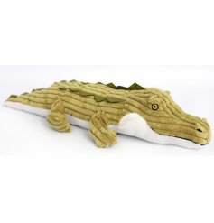 A characterful crocodile doorstop with corduroy fabric.
