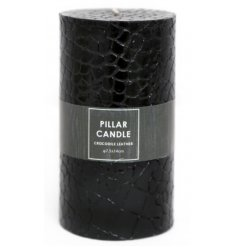 Bring a Wild touch to your home decor with this jet black toned pillar candle with an added Crocodile Skin decal