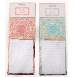 An assortment of pink an blue toned magnetic memopads featuring charming gold patterns and decals