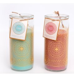 An assortment of golden printed glass tubes filled with sweetly scented candles