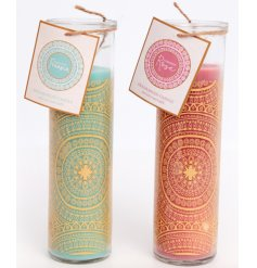 An assortment of golden printed glass tubes filled with sweetly scented candles and packaged with charming pink and blu
