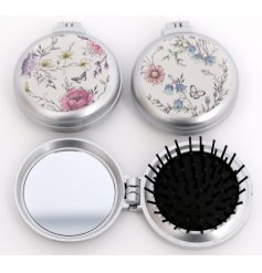 A mix of 2 compact hairbrushes with mirror. A pretty gift item and handbag essential.