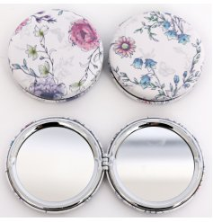 A stylish and practical compact mirror with a pretty floral and butterfly design. A lovely gift item and handbag item.