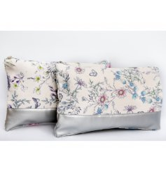 A delightful mix of sweetly printed fabric makeup bags complete with a block silver base