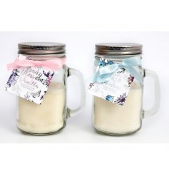 A mix of 2 beautifully scented candles set within mason jars. Complete with floral tags and bows.