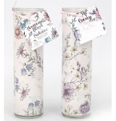 An assortment of 2 tall candle tubes with beautiful garden scents. A pretty gift item and interior accessory.